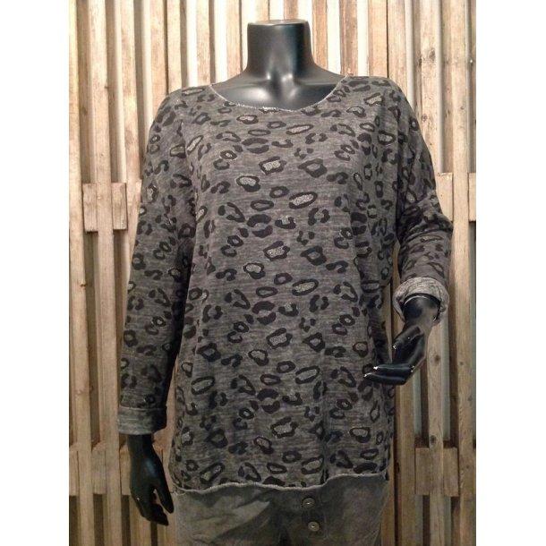 Bluse - Leopard - Grå