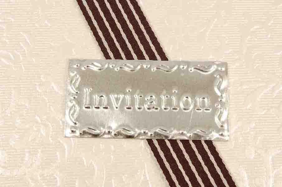 Skilt INVITATION - 4 cm. - Pose med 12 stk. - Zink