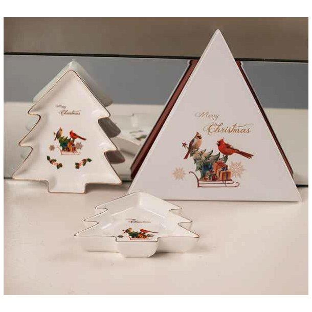 Fad m. guldkant – formet som juletræ -  I gaveæske