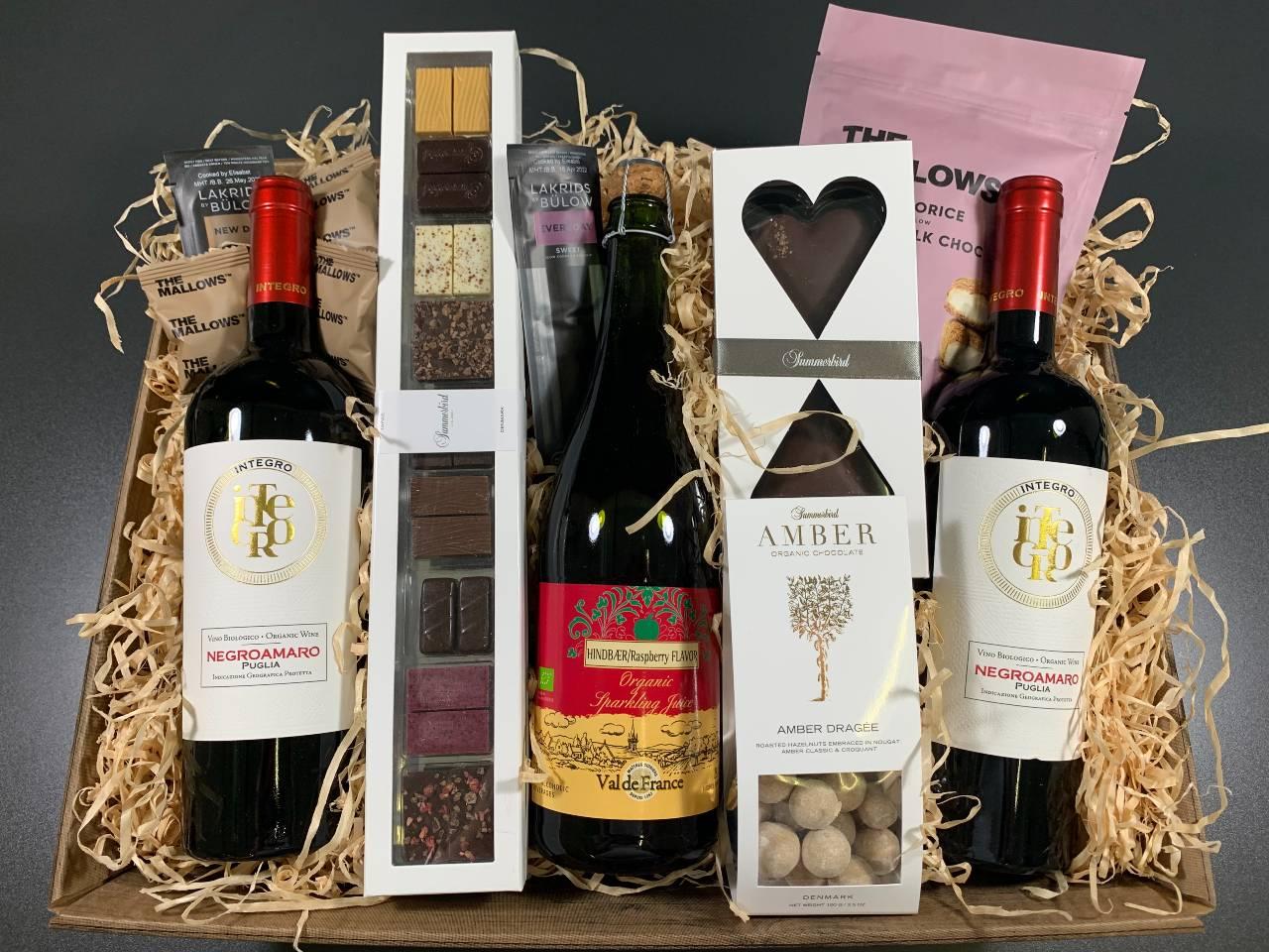 Gavekurv Økologiske gavekurv med vin og cider