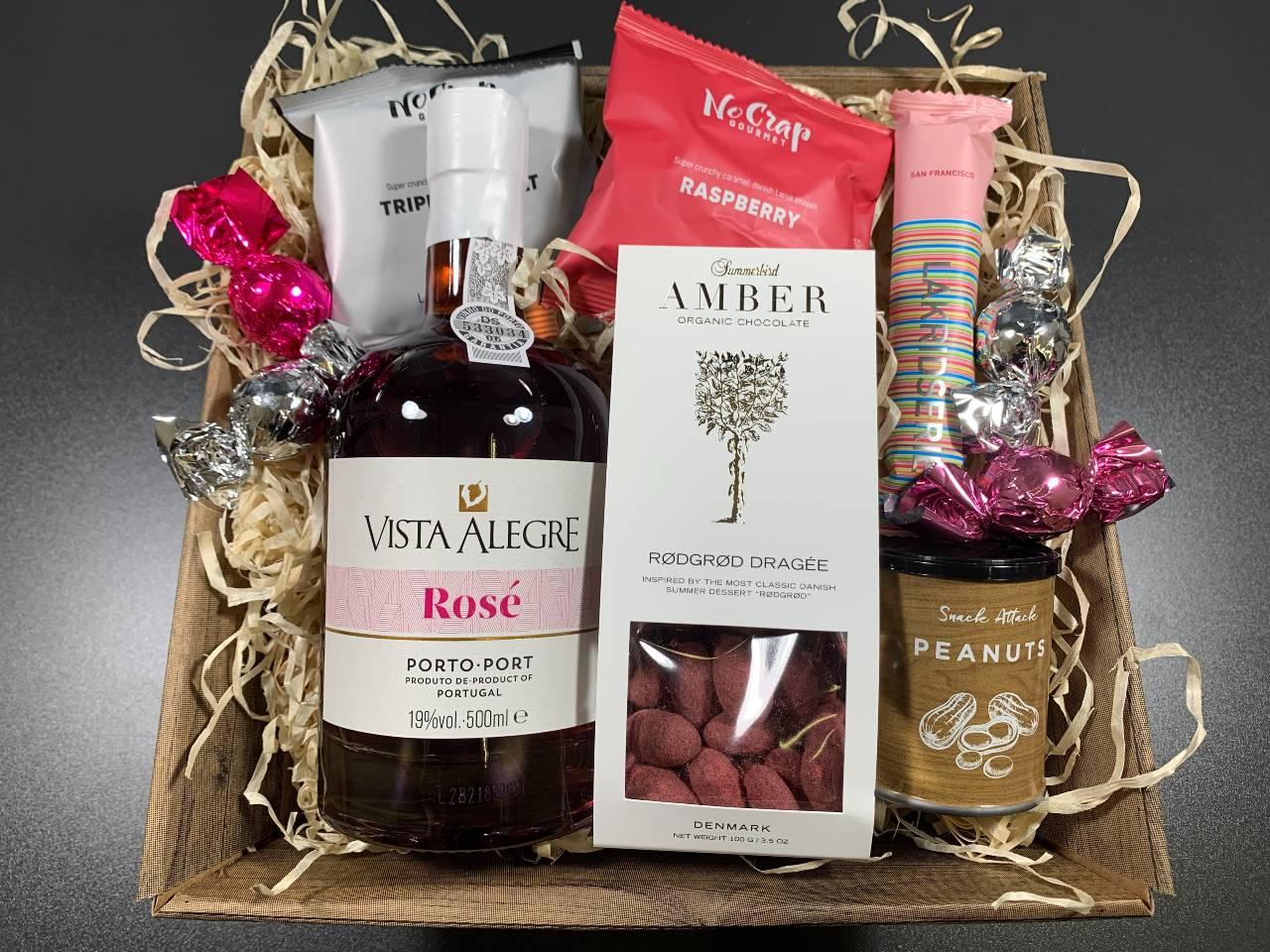 Gavekurv til Veninden – Pink Portvin og lækkerier