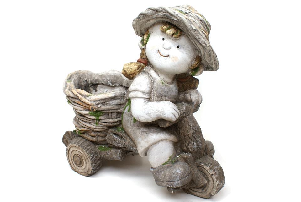 Havefigur – Pige på cykel med plantekrukke