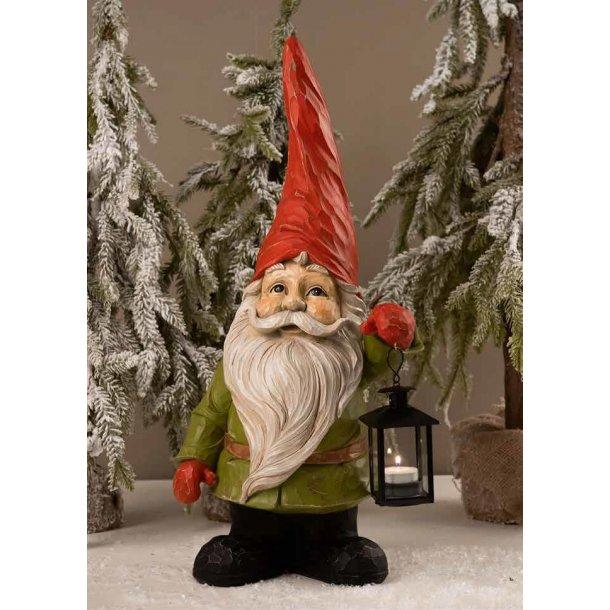 Havefigur - Julemand med lanterne