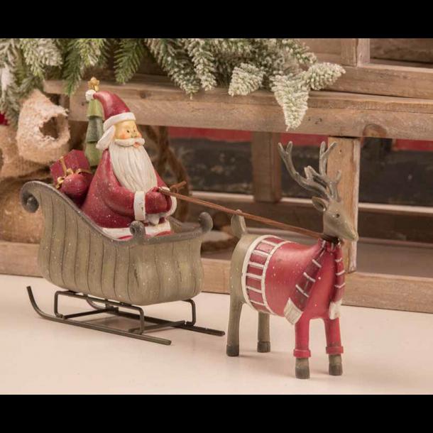Figur – Julemand i kane med rensdyr