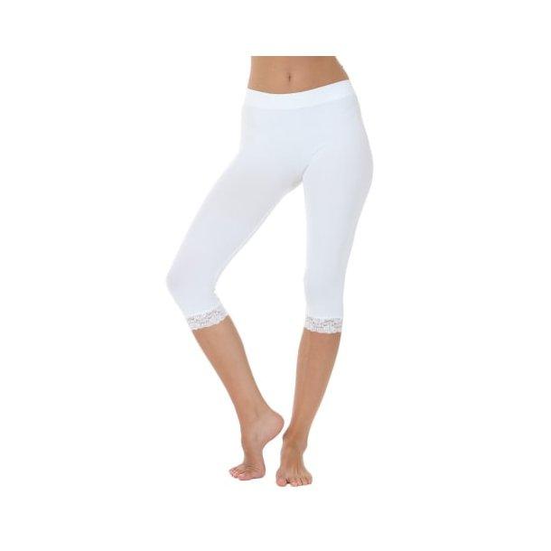 Leggings med blonde - Microfiber - Hvid - Onesize - Tim