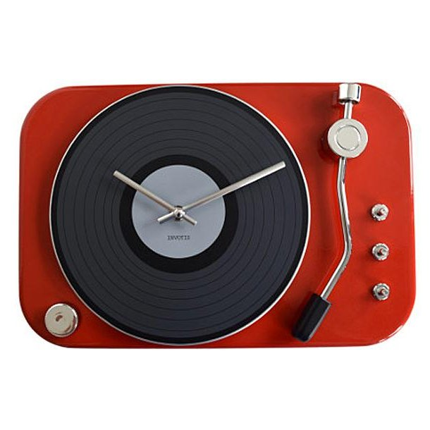 Clock record-player - red - Ur