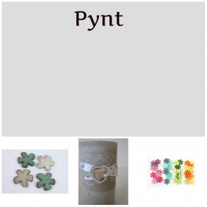 Filt, papir, metal og træ pynt
