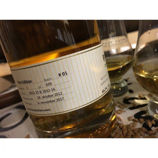 Dansk Malt whisky - Rum Edition, batch 1 - Fary Lochan + Lille smagsprøve flaske